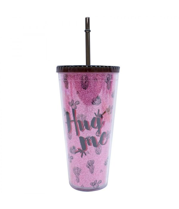 Copo Canudo Cactos Pink Brilhante 600ml