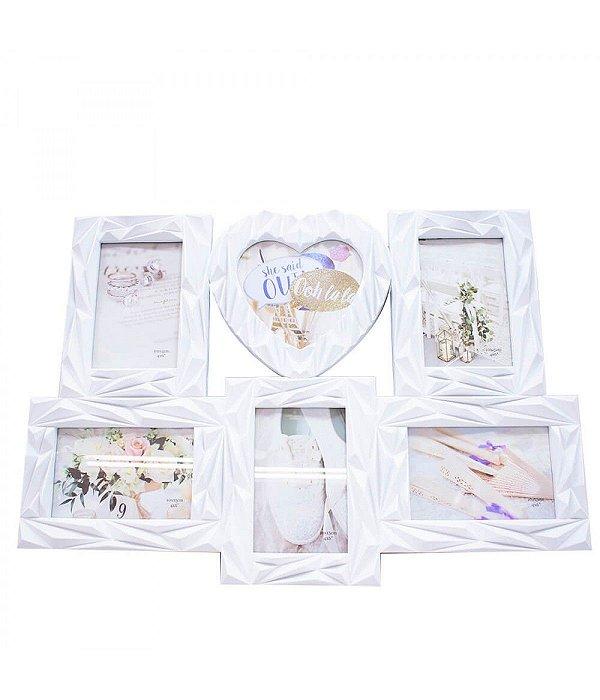 Multi Porta Retrato Branco Coração 6 Fotos