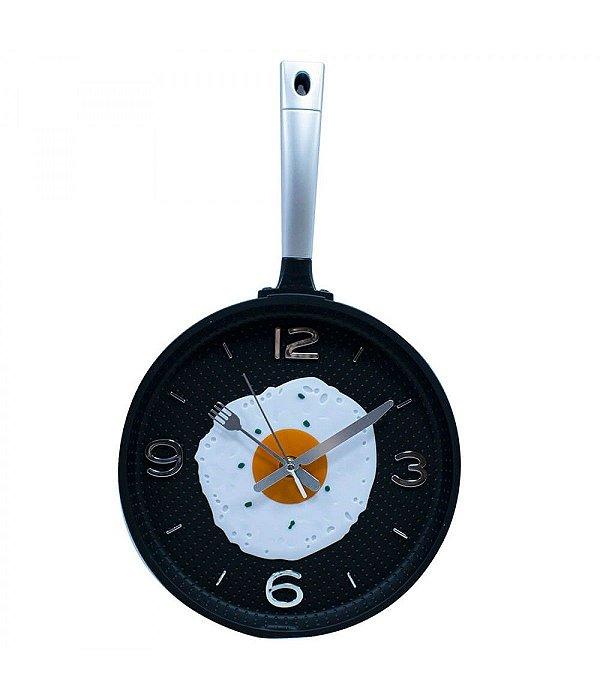 Relógio Parede Panela Fritando Ovo 25x43cm