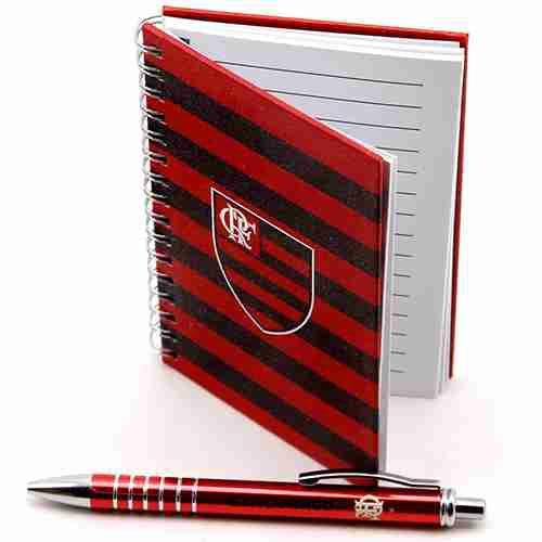 Caneta Roller Pen De Metal Com Caderno - Flamengo