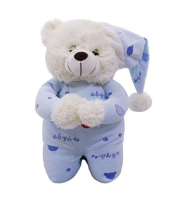 Urso Pijama Azul Claro Reza 35cm - Pelúcia