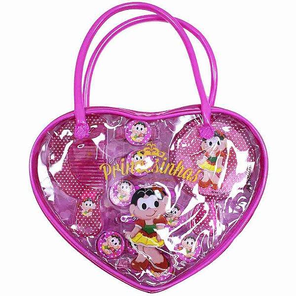 Bolsinha Com Acessórios Para Cabelo Rosa Magali Princesa - Turma Da Mônica
