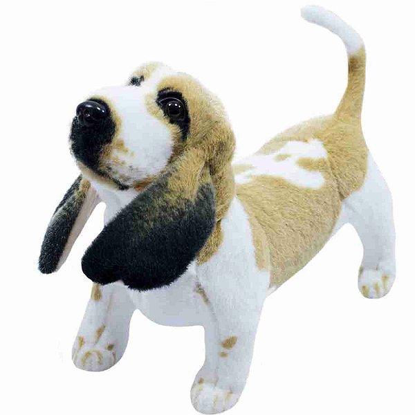 Cachorro Basset Hound Realista Em Pé 33cm - Pelúcia