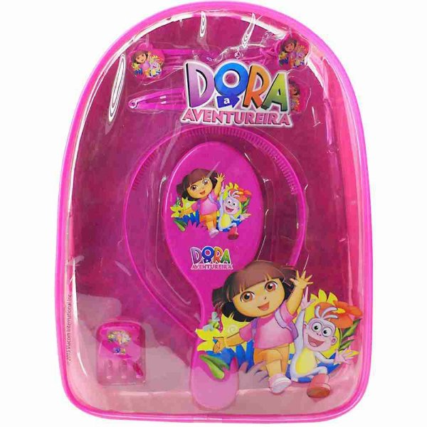 Mochila Com Acessórios Para Cabelo Rosa - Dora Aventureira