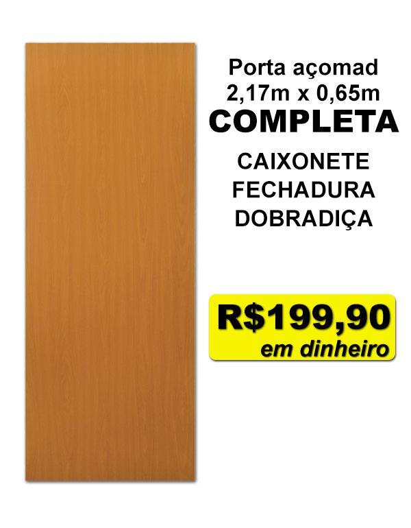 Porta açomad COMPLETA mogno 2,17m x 0,65m promo