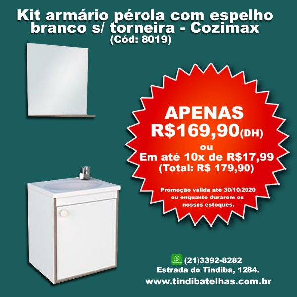 Kit armário pérola com espelho - Branco - S/ torneira - Cozimax (Cód: 8019)