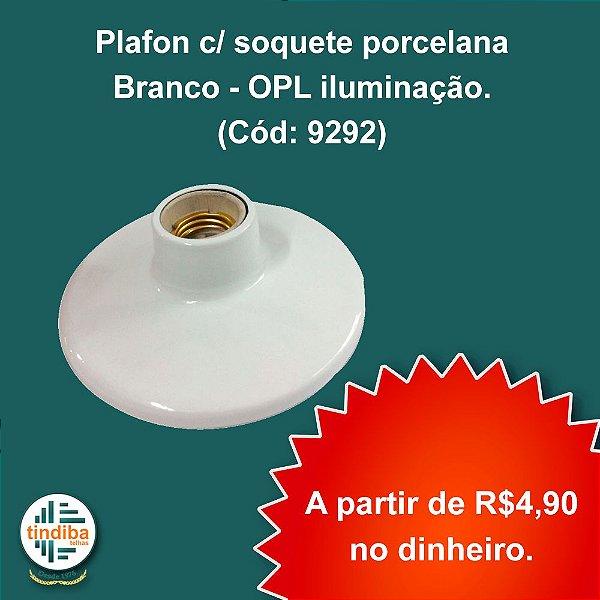 Plafon c/ soquete porcelana - Branco - OPL iluminação. (Cód: 9292)