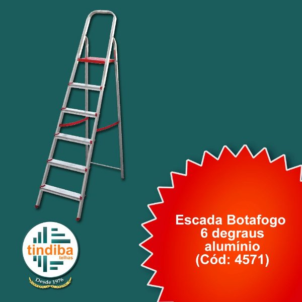 Escada botafogo 6 degraus - alumínio(Cód: 4571)