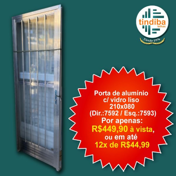 Porta de alumínio c/ vidro liso 210x80cm - direita (Cód: 7592)