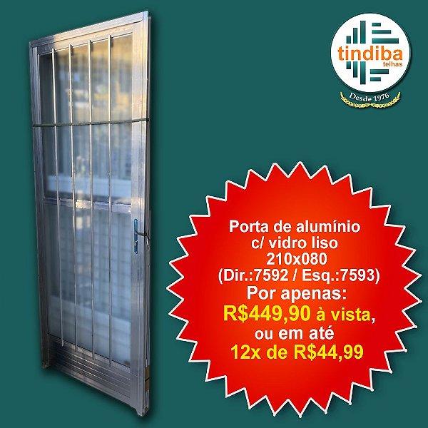 Porta de alumínio c/ vidro liso 210x80cm - esquerda (Cód: 7593)