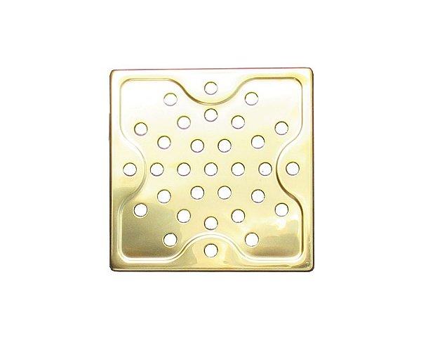 Ralo Dourado Quadrado em Aço Inox 9,5x9,5cm - By Fineza