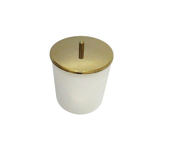 Lixeira Dourada e Branca Tampa em Aço Inox 5L - By Fineza