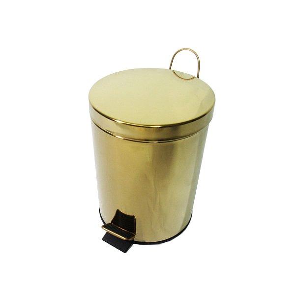 Lixeira Dourada em Aço Inox para banheiro com Pedal 12L – By Fineza