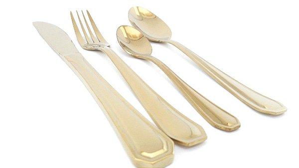 Faqueiro Dourado para Sobremesa By Fineza - Victoria 24 peças