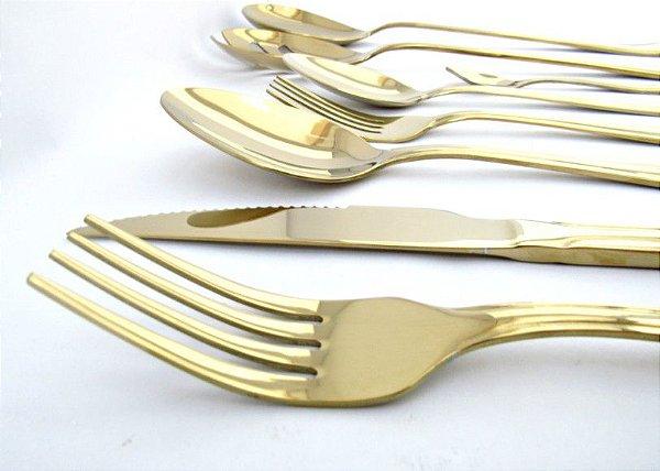 Faqueiro Dourado Fineza - Victoria 74 peças