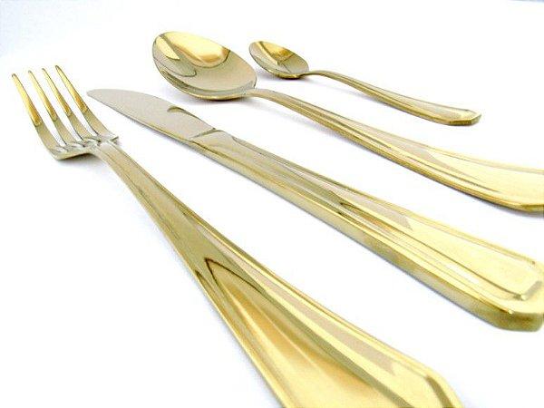 Faqueiro Dourado Victória 48 peças - By Fineza