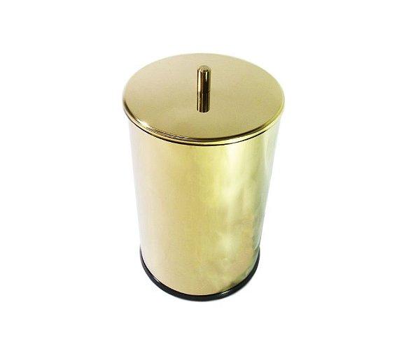 Lixeira Dourada com tampa em aço Inox 7,8L – By Fineza