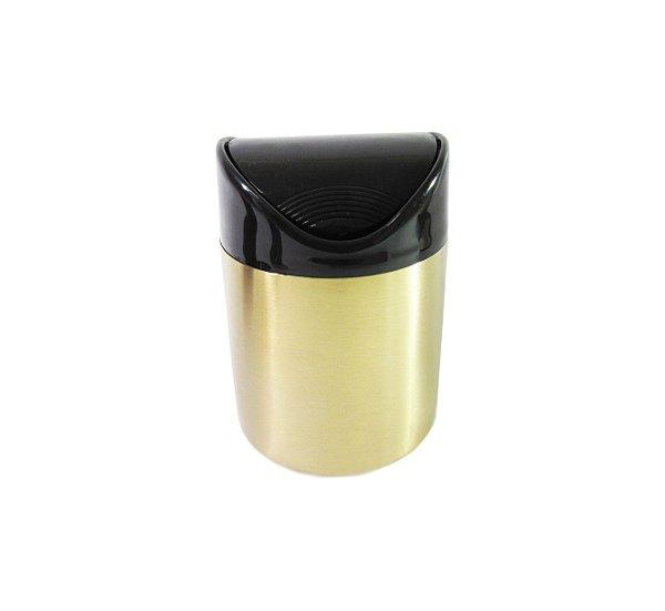Lixeira Dourada e Preta 1,2L Basculante - By Fineza