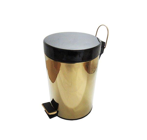 Lixeira Dourada com tampa preta em Aço Inox para Escritório com Pedal 5L - By Fineza