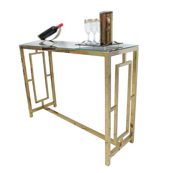 Aparador Dourado em Aço Inox Com Tampo De Vidro - By Fineza
