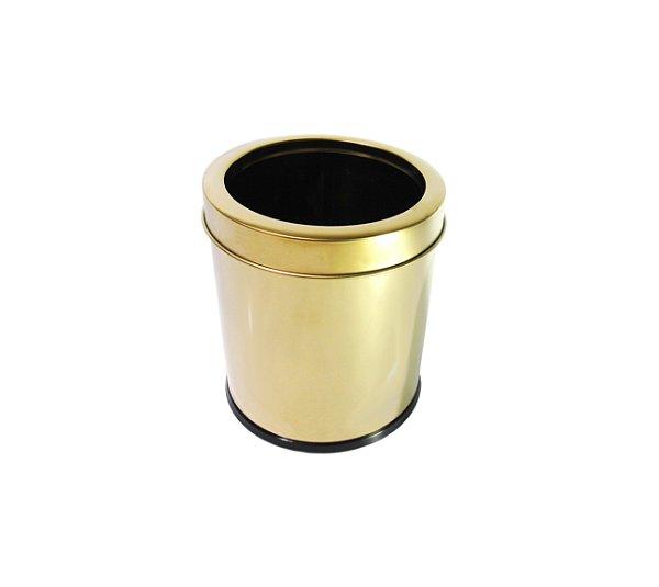 Lixeira Dourada em Aço Inox com Aro 3,2L - By Fineza