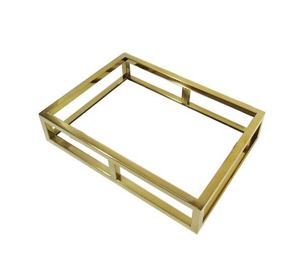 Bandeja Dourada em Aço Inox e Fundo Espelhado - By Fineza