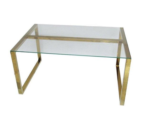 Mesa de centro Dourada em Aço Inox Com Tampo De Vidro - By Fineza