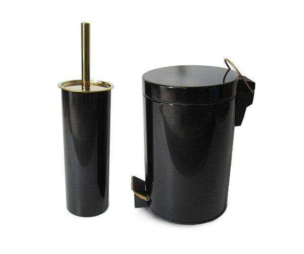 Conjunto Preto e Dourado para Banheiro-Lixeira com pedal+escova sanitária -  By Fineza
