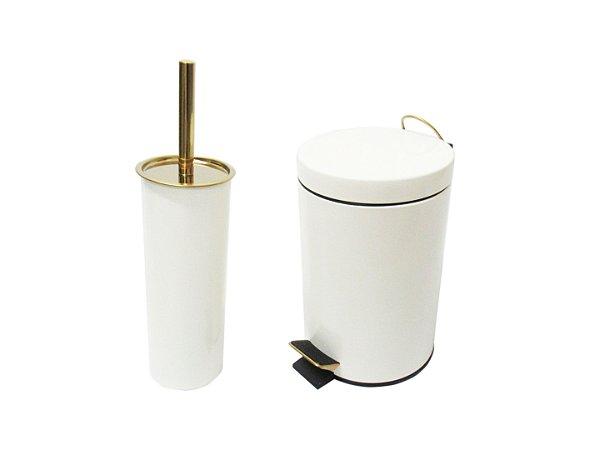 Conjunto Branco e Dourado para Banheiro-Lixeira com pedal+escova sanitária -  By Fineza