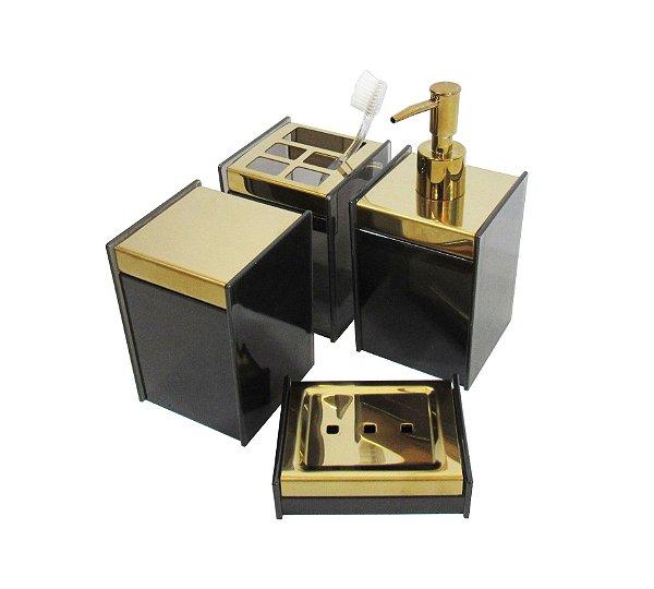 Kit Dourado de Organizadores para Banheiro - By Fineza