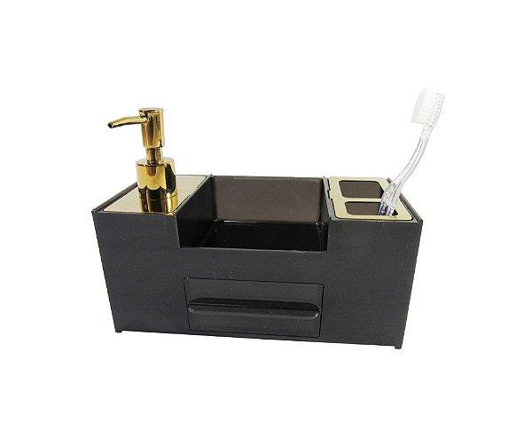 Organizador Dourado e Preto para Pia de Banheiro - By Fineza