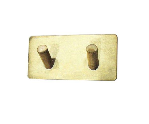 Gancho Duplo Dourado em Aço Inox com fixação na parede - By Fineza