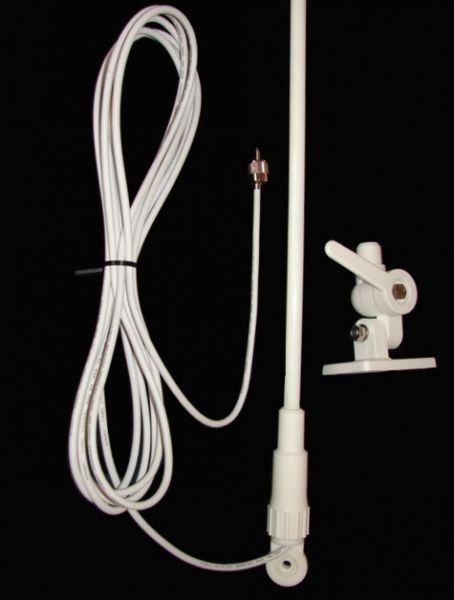 Antena VHF Marítima em Fibra - 0,5 Metro - Ganho Real até 3 dB - Branca