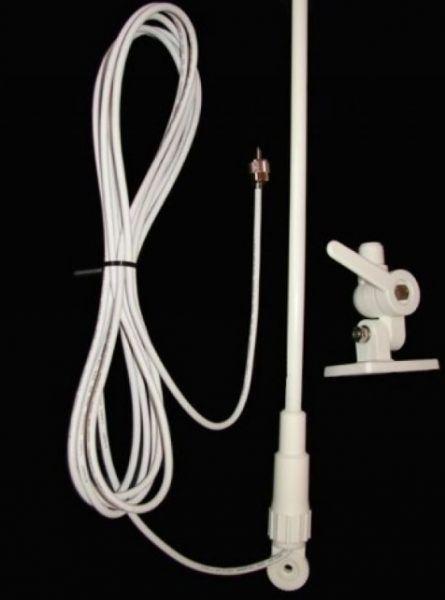 Peças e acessórios Focker - Antena VHF Marítima em Fibra - 1,6 Metros - Ganho Real até 9 dB - Branca - Cabo 9,1m