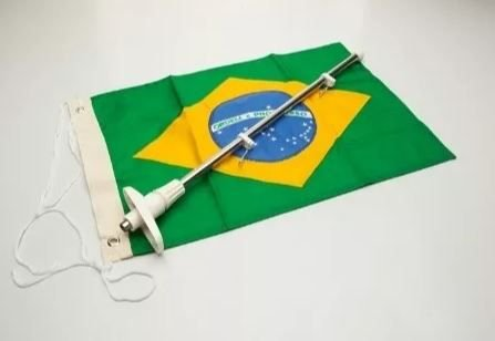 Peças e acessórios Lancha Focker - Mastro Porta Bandeira c/ Bandeira do Brasil Dupla Face p/ Embarcações 20x32cm 1 un.