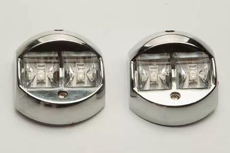 Peças e acessórios Lancha Focker - Par de lanterna de Navegação 02 Leds de alta intensidade (Cromado)