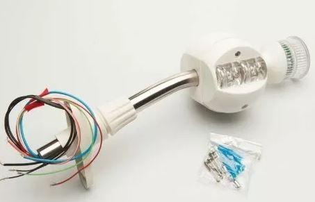 Peças e acessórios Lanchas Focker - Luminária de Navegação Tricolor para proa e topo com lanterna em LED (Preto, branco) 1 un.
