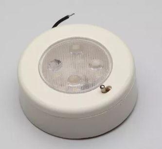Peças e acessórios Lanchas Focker - Luminária de cabine circular pequena LED 12V Base branca (Branco frio, branco quente) 1 un.