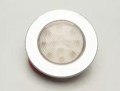 Luminária de cabine circular pequena de embutir LED 12V Corpo branco e Aro cromado (Branco) 1 un.