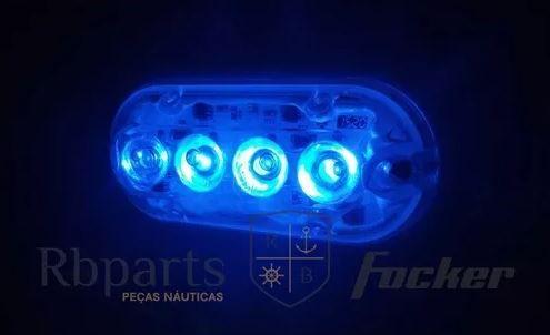Peças e acessórios Lancha Focker - Par de Luz subaquática totalmente selada 04 LEDs 12V Lente ampliadora (Branco, azul ou verde)