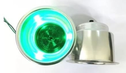 Peças e Acessórios Lancha Focker - Porta Copo Iluminado Corpo em Alumínio Prata (Iluminação em LED)