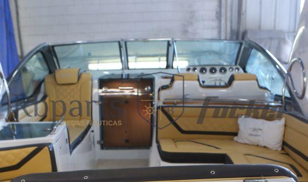 Peças e acessórios Lancha Focker- Para-brisa Vidro Com Esquadria de Alumínio Frontal Portinhola Focker 320/330
