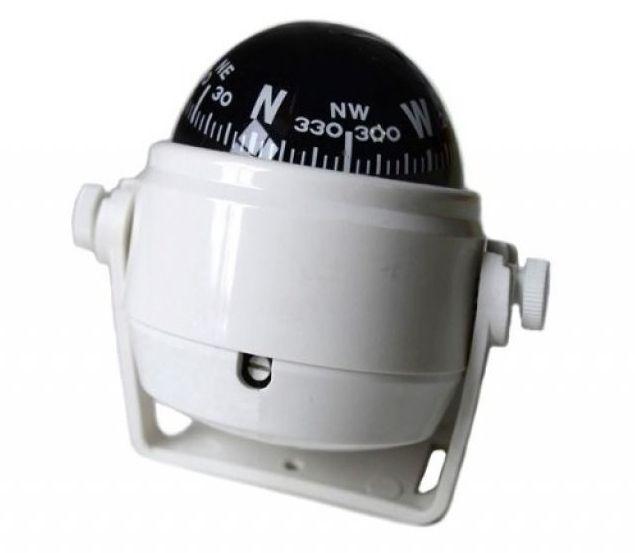 Peças e Acessórios Lancha Focker - Bússola c/ Base Náutica - S/ Iluminação - Tam: Pequena - Cor: Branca