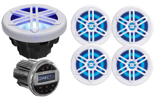 """Kit de som Youroo Marinizado (2 pares de alto falantes 6,5""""+radio+subwoofer) Branco LED"""