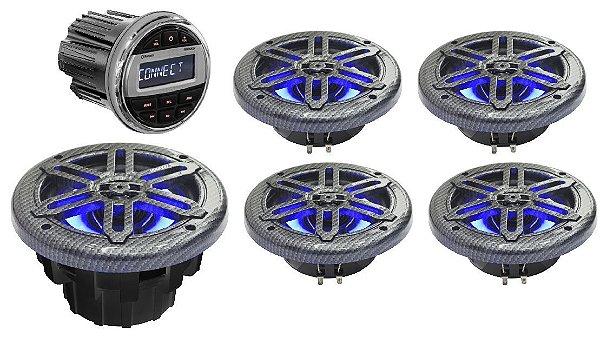 """Kit de som Youroo Marinizado (2 pares de alto falantes 8""""+radio+subwoofer) Design Fibra de Carbono LED"""