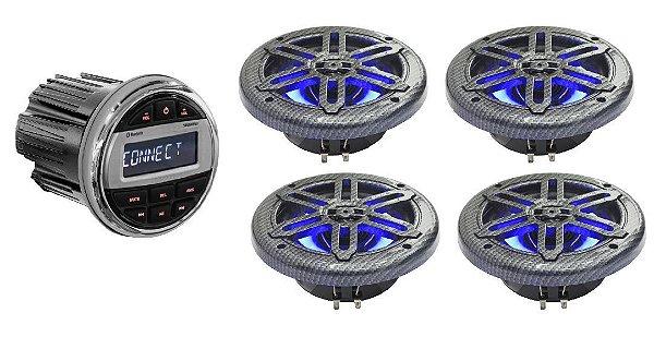 """Kit De Som Youroo Marinizado Design Fibra De Carbono 8"""" LED"""