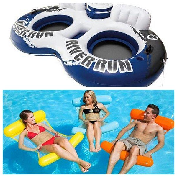 KIT - Poltrona casal com bar + 03 boias Rede Cadeira Flutuante para mar e piscina