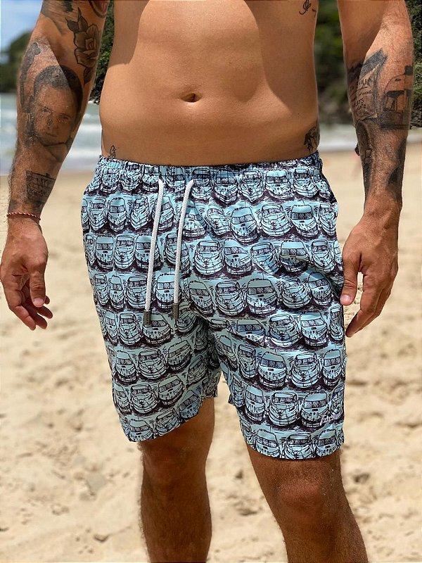Shorts Focker Azul Claro com Lancha