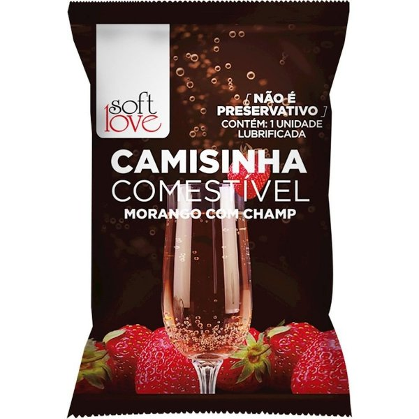 CAMISINHA COMESTIVEL SOFT LOVE MORANGO C/ CHAMPAGNE.