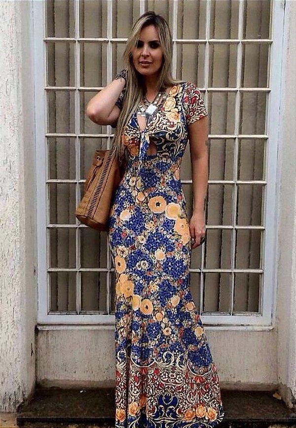 Vestido longo sereia com estampa floral divina